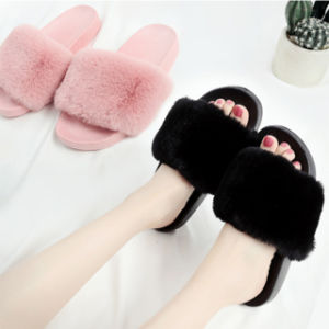 Custom фо мех слайд благоухающем курорте, дамы мех слайд-тапочки сандалии моды Фокс меховые тапочки слайды женщин
