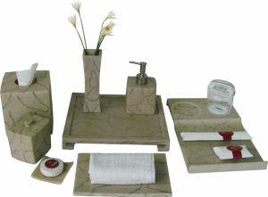 Las comodidades de acabado en mármol Juego de soportes accesorios de baño de cerámica de Balfour Hotel