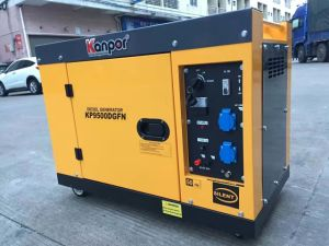 Kp9500 Kanpor 6.8kw 7.5kw 50Hz 60Hz 침묵하는 방음 공기 차가운 휴대용 디젤 엔진 침묵하는 발전기
