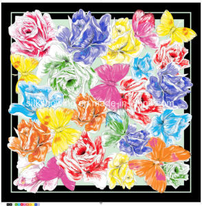 Impressão digital mais recentes personalizado Sarjado Seda cachecol para senhora
