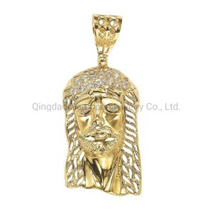 Grande poignée de commande de la tête de Jésus Le Style coréen Trio couleur Or et Silver Charm Mode bijoux