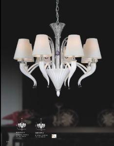 Luz de vidro branca do pendente do Lampshade do hotel (81075-8)