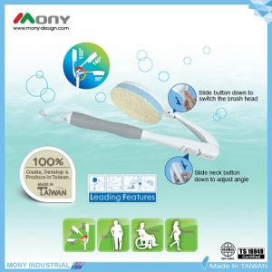 Escova de chuveiro ajustável e intercambiável Loofah com esponja