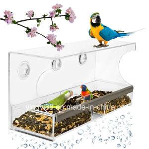 De in het groot Glasheldere AcrylVoeder van de Vogel met Zuignap
