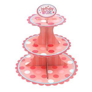 3 Reihe-Pappstandplatz Platz-Einsparung Kuchen-Ausstellungsstand für Parteien und Feiertag