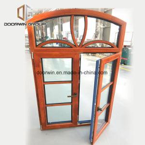 Interrupção térmica arqueados Janela de alumínio com revestimento de madeira de carvalho de dentro da janela francesa com design de grelhados