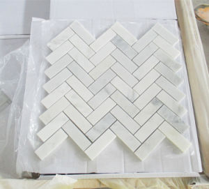 壁または浴室の装飾のための六角形かバスケットまたはヘリンボンカラーラまたは純粋または高貴なまたは東洋の白い大理石のモザイク・タイル