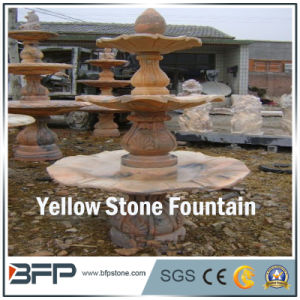 أحمر/رخام أصفر ينحت حجارة [وتر فوونتين] لأنّ حديقة [سورّوودينغس] زخرفة