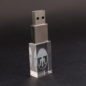 고품질 LED 가벼운 USB 2.0/USB 3.0 저속한 드라이브 32GB 64GB를 가진 주문 3D 로고 결정 USB