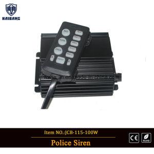 La recuperación de la seguridad del vehículo de rescate azul girando la barra de luces de la policía en la lente lineal