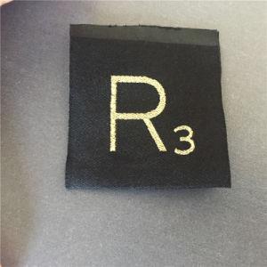 Personalizar 75D de alta densidad metálica de oro Cartas etiquetas tejidas etiquetas tejidas