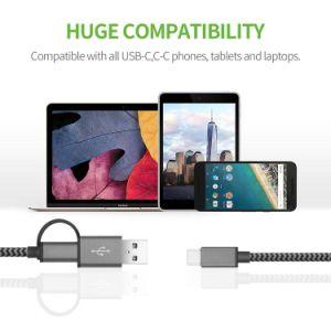 2 in 1 l$tipo C del USB ed in un tipo cavo Braided di nylon veloce di sincronizzazione di dati e della carica