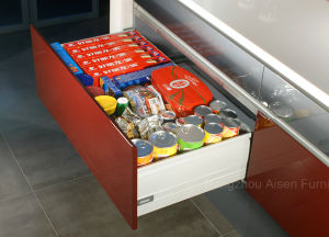Form-roter glatter Lack MDF-Küche-Schrank-Küche-Schrank