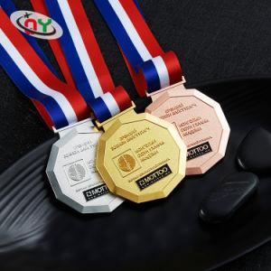 Fábrica de Zhongshan ODM precios baratos de metal personalizados Souvenir la medalla de oro fino con una cinta de la medalla de deportes