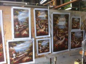 Pittura a olio mediterranea 100% di paesaggio Handmade su tela di canapa