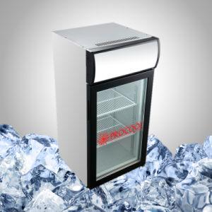 照らされた刻まれたガラスドアのクーラー冷却装置