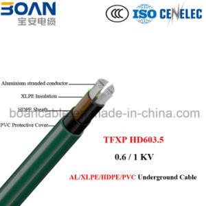 Tfxp, Al/XLPE/Hpde/PVC cabo subterrâneo, 0.6/1kv, HD 603.5m