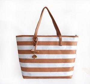 형식 줄무늬 인쇄 PU 끈달린 가방 어깨 핸드백 Wzx1387