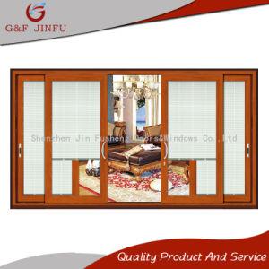 Деревянные зерна передача тепла алюминиевые раздвижные двери со встроенным жалюзи