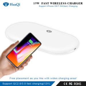 便利な15Wは絶食するiPhoneかSamsungまたはHuawei/Xiaomi (4つのコイル)のためのチーの無線可動装置か携帯電話の充満ホールダーまたはパッドまたは端末または充電器