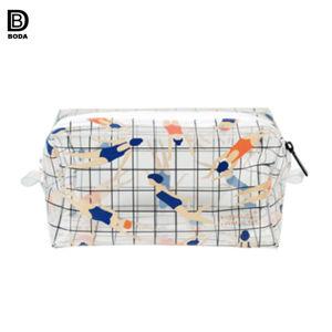 夏旅行美しい漫画女性のための透過PVC装飾的な袋