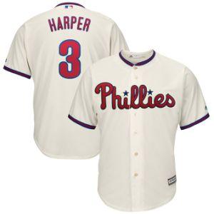 Venda por grosso Bryce Harper Philadelphia Phillies Majestic Suplente Jornal Cool Leitor Base Customized #3 Jersey - Creme