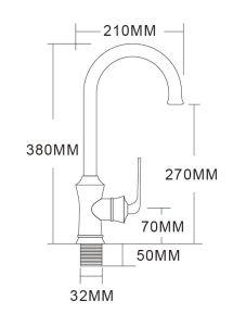 真鍮の台所コックの単一の穴のばね