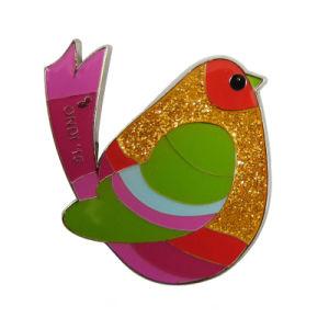 金属のギフトのきらめき(205)のカスタム銀製の多彩でかわいい雌鶏の形の折りえりPin