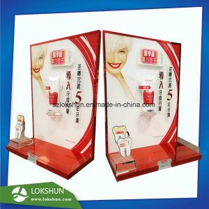 Affichage de dentifrice en acrylique Stand L forme, de soins personnels Red-Gold Présentoir avec marquage à chaud