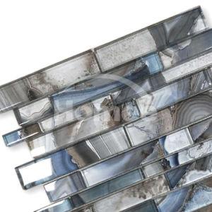 Mozaïek van het Glas van Backsplash van de Tegel van de Textuur van de haven het Blauwe Unieke Lineaire