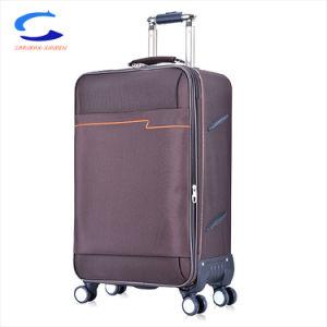 China OEM 24'' azul cian 2 cómodas asideros de nylon balístico revestimiento de poliéster personalizadas Softside Carro de la bolsa de Equipaje para viajes
