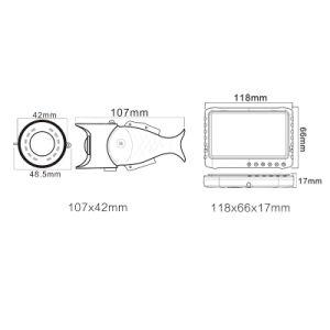 2.0MP la pesca de 5 pulgadas de 170 grados DVR cámara con 12 PCS LED infrarrojos