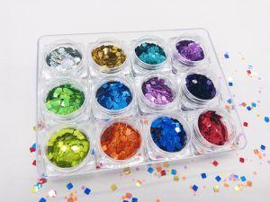 Scintillio del laser del quadrato per arte del chiodo e l'imballaggio di chilogrammo di colori di serie 12 di colore della perla di bellezza del chiodo
