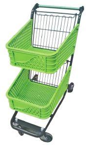 ショッピングトロリー米国式の二重バスケット(前部車輪swivel+backは堅い動かす)