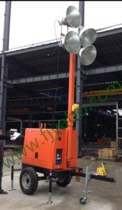 Lampe aux halogénures métalliques de 8 m de la tour lumineuse Mobile remorquable 4X1000W Générateur Diesel 5kw