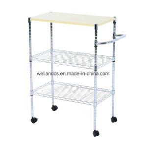 NSF de laminación de estante de alambre de acero Wood-Top Cocina Carrito de almacenamiento de 600x350