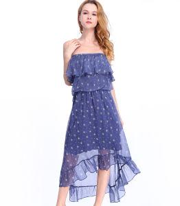 2018年の型の流行のガウンのカスタマイズ可能な衣類の肩プリント袖なしの女性の服
