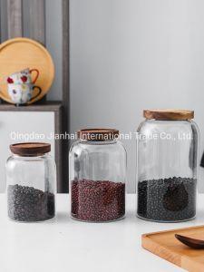 Conjunto de 2 jarras de almacenamiento de vidrio acanalado 1300 ml con Tapa Cocina Pequeña contenedor Dulce