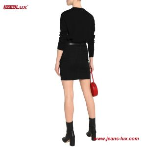 Le Denim Pinstriped Mini Jupe crayon pour les femmes