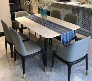 El Lujo moderno marco de madera mesa de comedor de mármol para el conjunto de muebles Inicio Restaurante