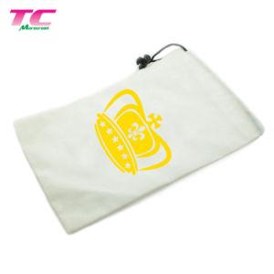 Velet suave de color blanco puro bolsa de regalo personalizado con un solo cordón
