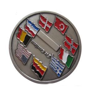 Bandera de varios países de la moneda desafío antiguos personalizado