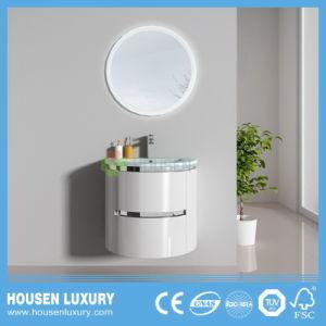 2018 INTERRUPTOR TÁCTIL LED caliente PVC espejo redondo High-Gloss Arco pintura Wall-Mounted cuarto de baño HS-O1101-600