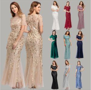 Les femmes Mesdames abricot Fringe Parti de la moitié de manchon Maxi Sequin robe de soirée
