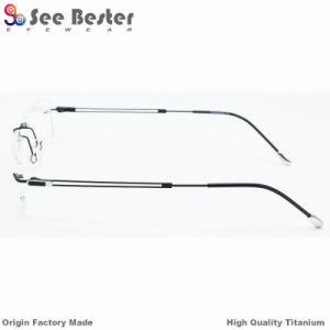 Nouveau élégant de montures de lunettes en titane pur 100% de titane sans rebord Châssis optique de haute qualité des verres de lunettes de couleur avec double