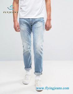Blu-chiaro raffreddare i jeans degli uomini del denim di stirata (P.E. 4329)