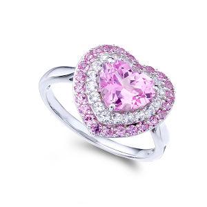 方法宝石類中心の形のピンクのダイヤモンドが付いている925の銀製のリング
