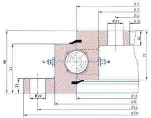 Tipo de brida de cojinete de rotación de engranaje interno Turntable VLU200414 utilizado para grúas camiones