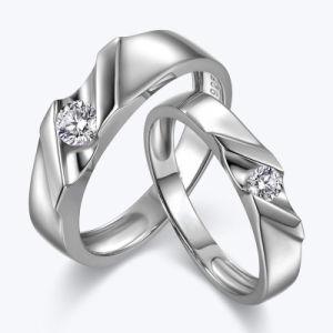 Vastgestelde Juwelen van de Ring van het Paar van het Ontwerp van de Diamant van leidingen de Zilveren