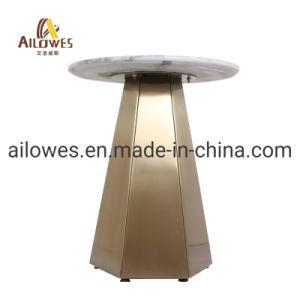 Venda a quente simples mobiliário de lazer em mármore Redonda Top laterais de aço inoxidável Tabela de chá